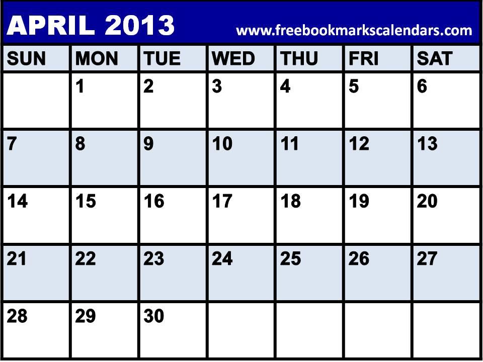 Blank Calendar April 2014