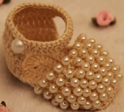 Muito Receita de Crochê Infantil: Sapatinho de crochê Perolado NI54