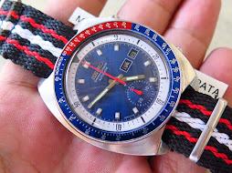 SEIKO CHRONOGRAPH POUGE BLUE SUNBURST DIAL PEPSI BEZEL - AUTOMATIC 6139 6002