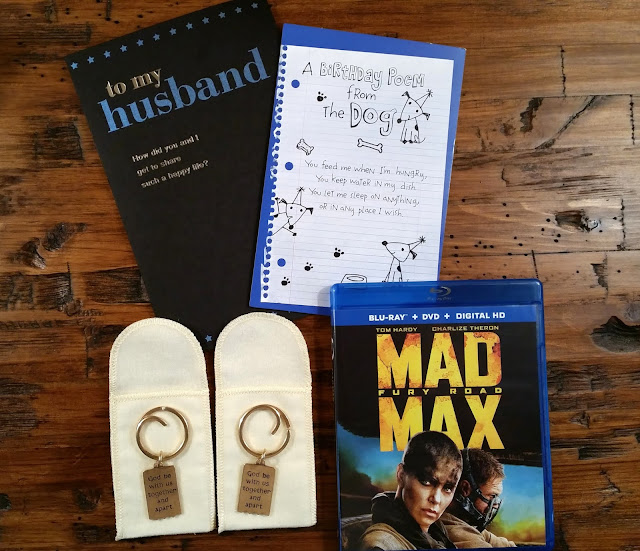 Birthday Gift Ideas for Him: His favorite DVD and a Mizpah Key Chain set from James Avery