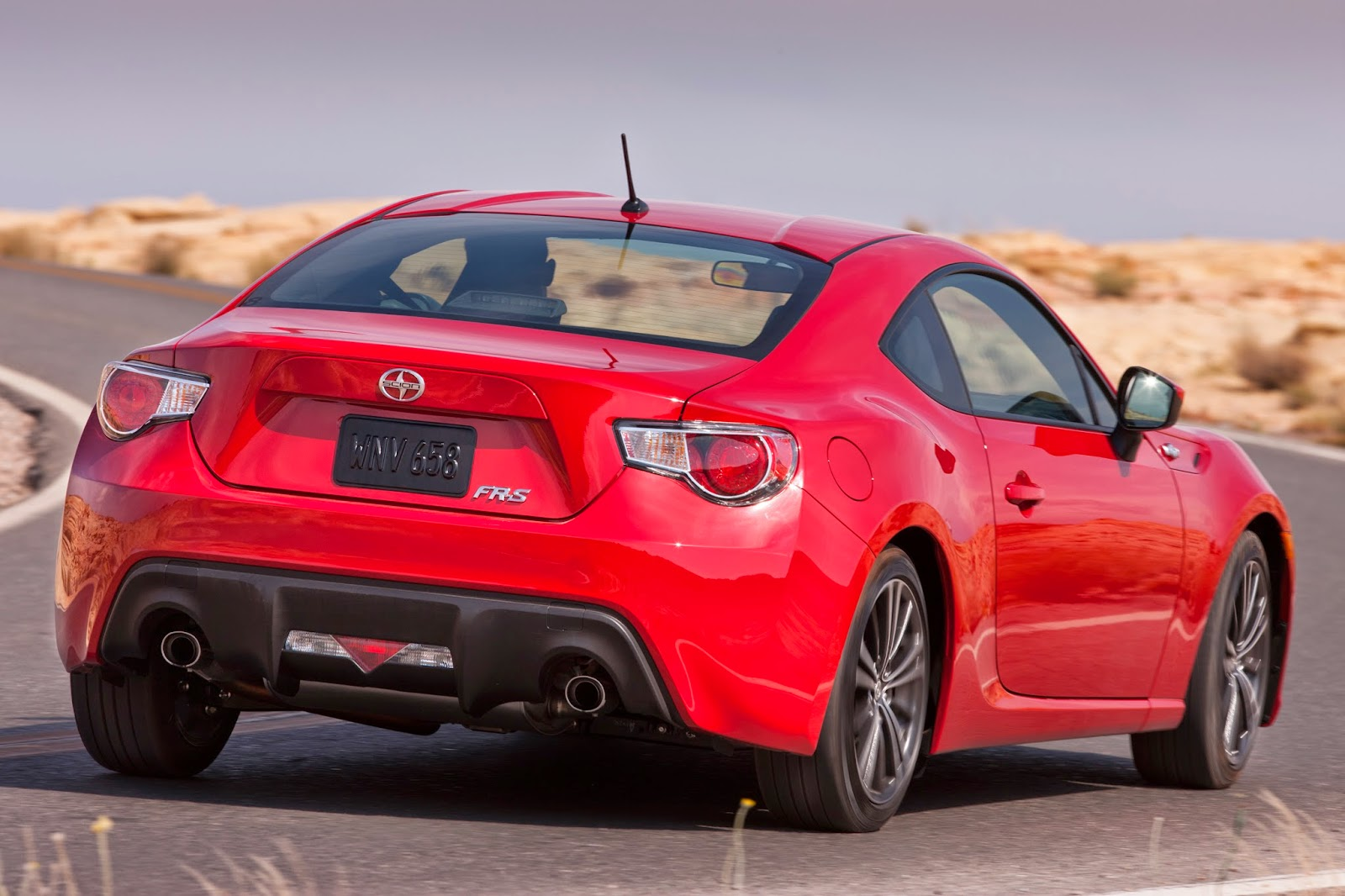 Rear 3/4 view of 2014 Scion FR-S