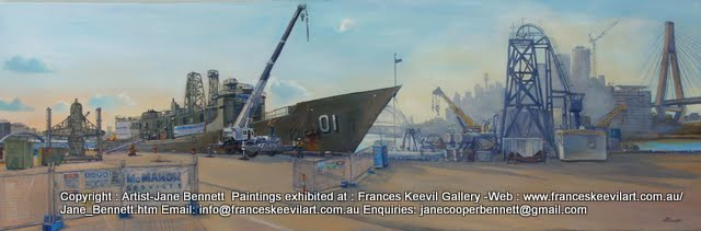 Ex-HMAS Adelaide at Glebe Island wharf oil painting by artist Jane Bennett