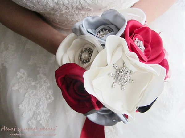 bridal fabric and brooch bouquet