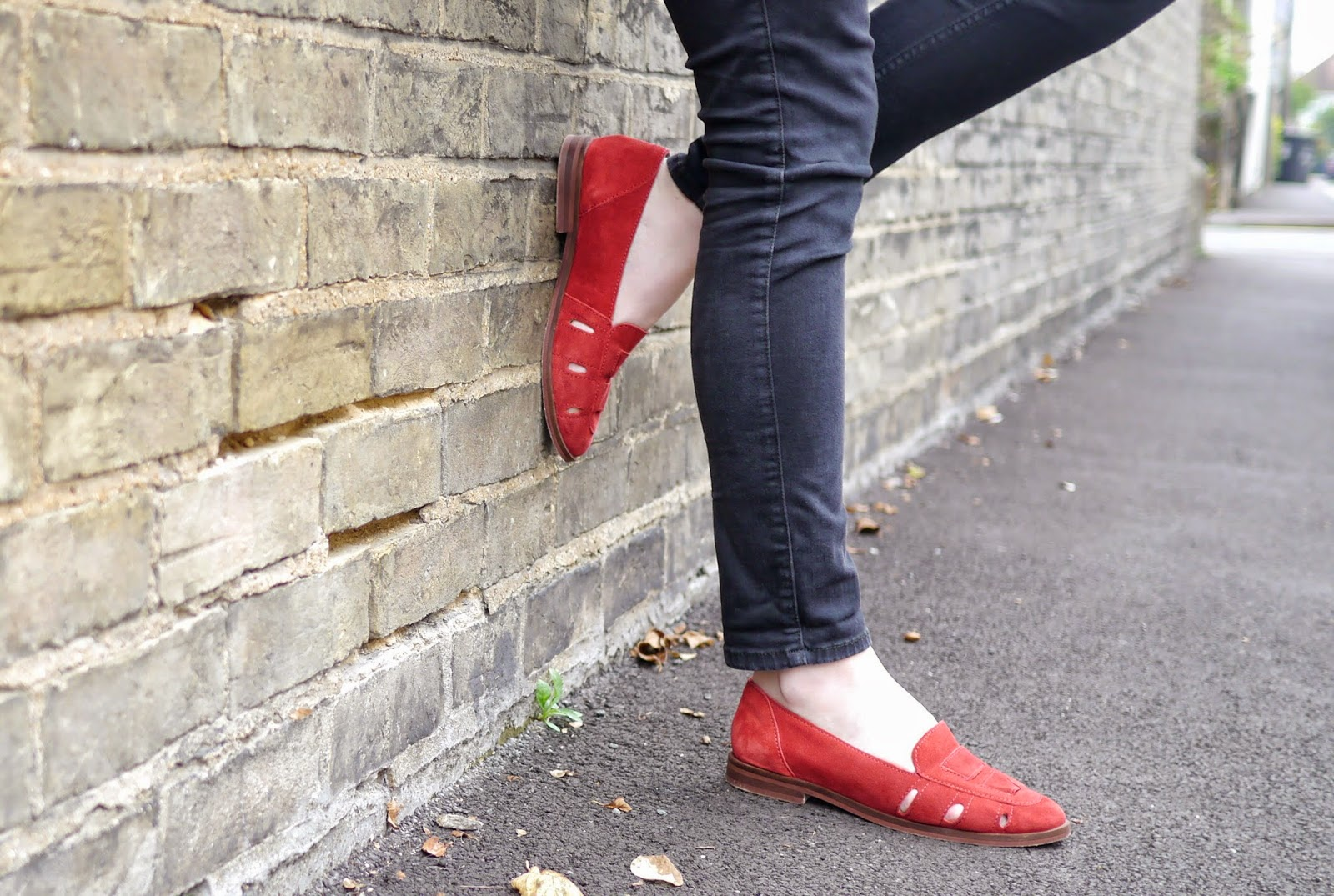Topshop Red Suede Kooky Loafer Shoes