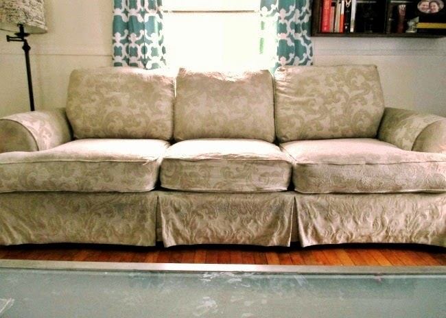High Heels And Training Wheels Diy Couch Reupholster With A Painter 39 S Drop Cloth Part 1 The