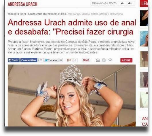 Erro de manchete liga nome de Andressa Urach a sexo anal e cirurgia íntima: confira
