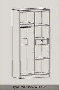 Tampak Dalam Lemari Pakaian 2 Pintu WD 195 Benefit Furniture