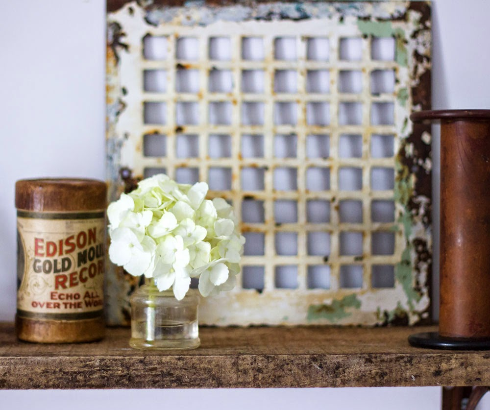 vintage objects on reclaimed wood shelf
