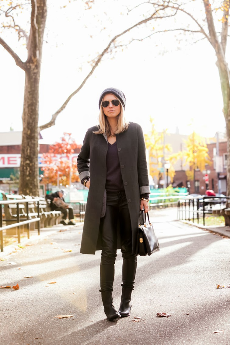 Club Monaco long coat vegan leather pants DKNY beanie