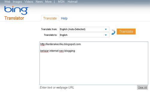 Terjemahan Online Bing Translator