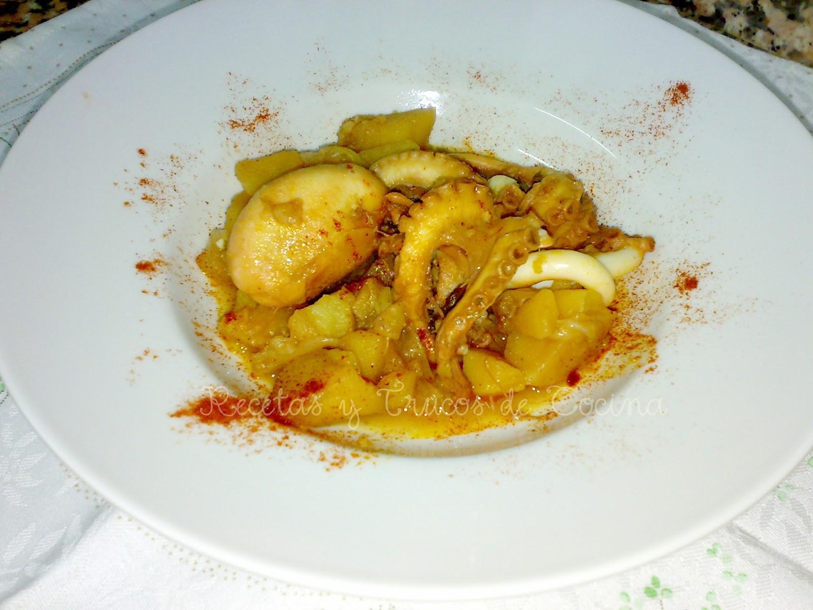 Recetas y trucos de cocina pulpo guisado con patatas for Pulpo en olla express