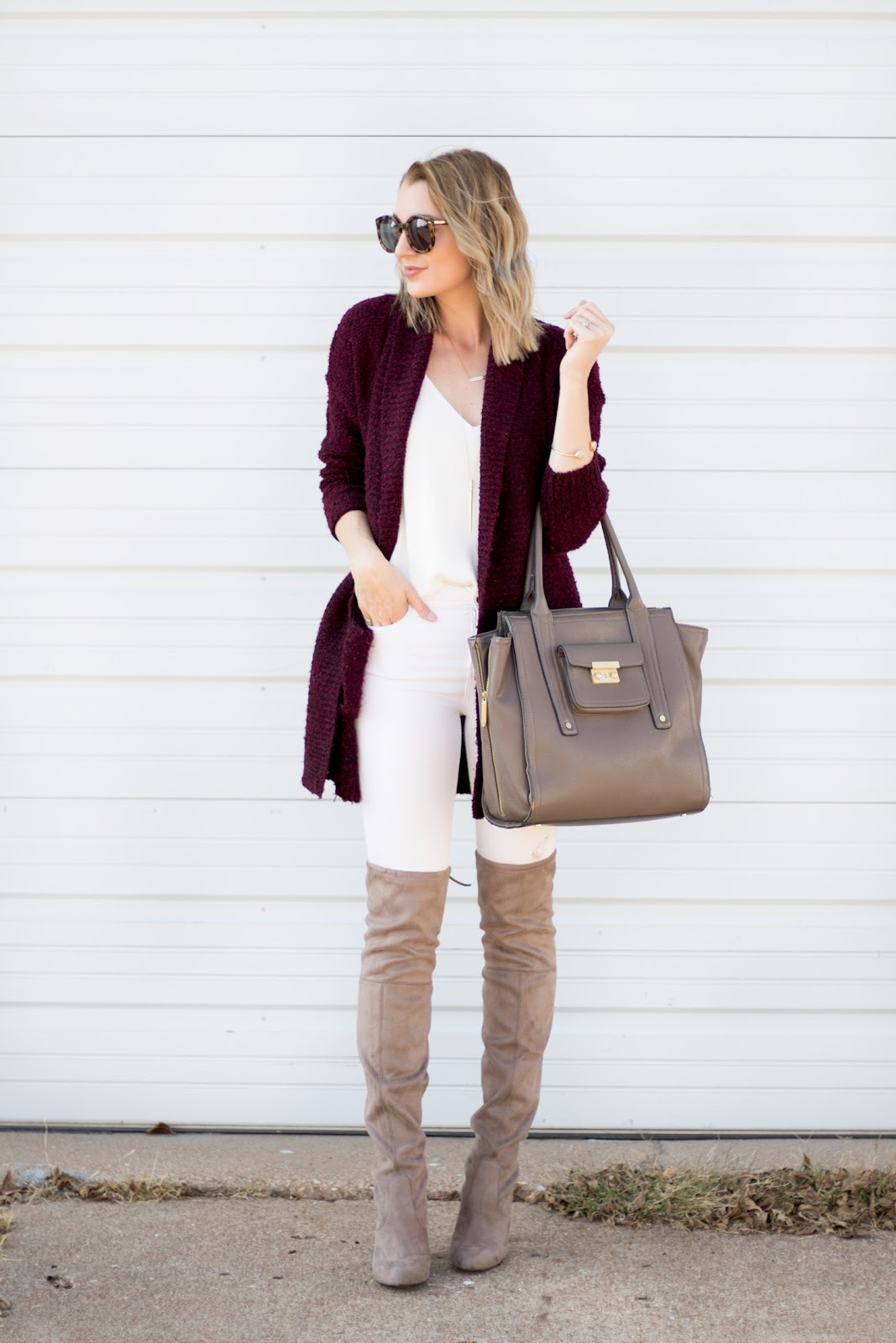 Burgundy cardigan and over the knee boots