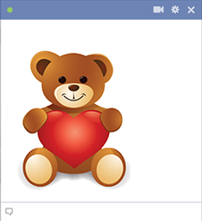 Facebook teddy bear holding heart