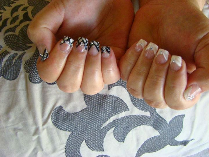Brown-and-white-acrylics-vanilla-and-striped-classic-Chevron-crossover-black-stripes-french-bling