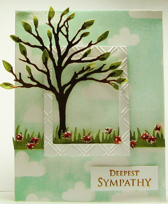 Impression Osession tree die and Poppystamps lorelai leaf die.