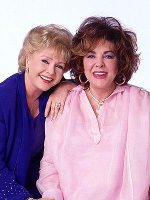 Young Debbie Reynolds And Elizabeth Taylor powder blue with polka...