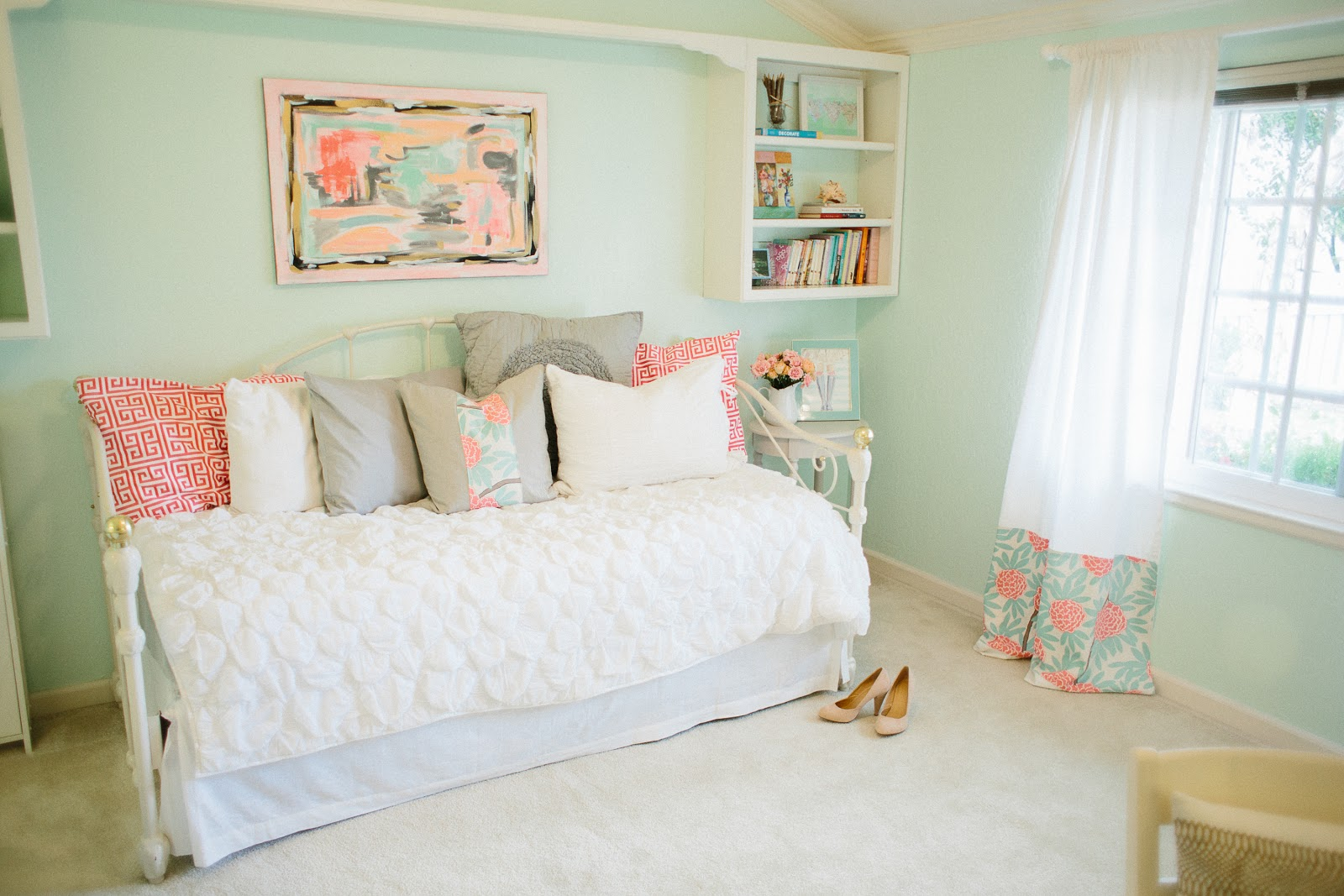 Mint peachy pink my bedroom tour reveal michaela for Mint green bedroom ideas
