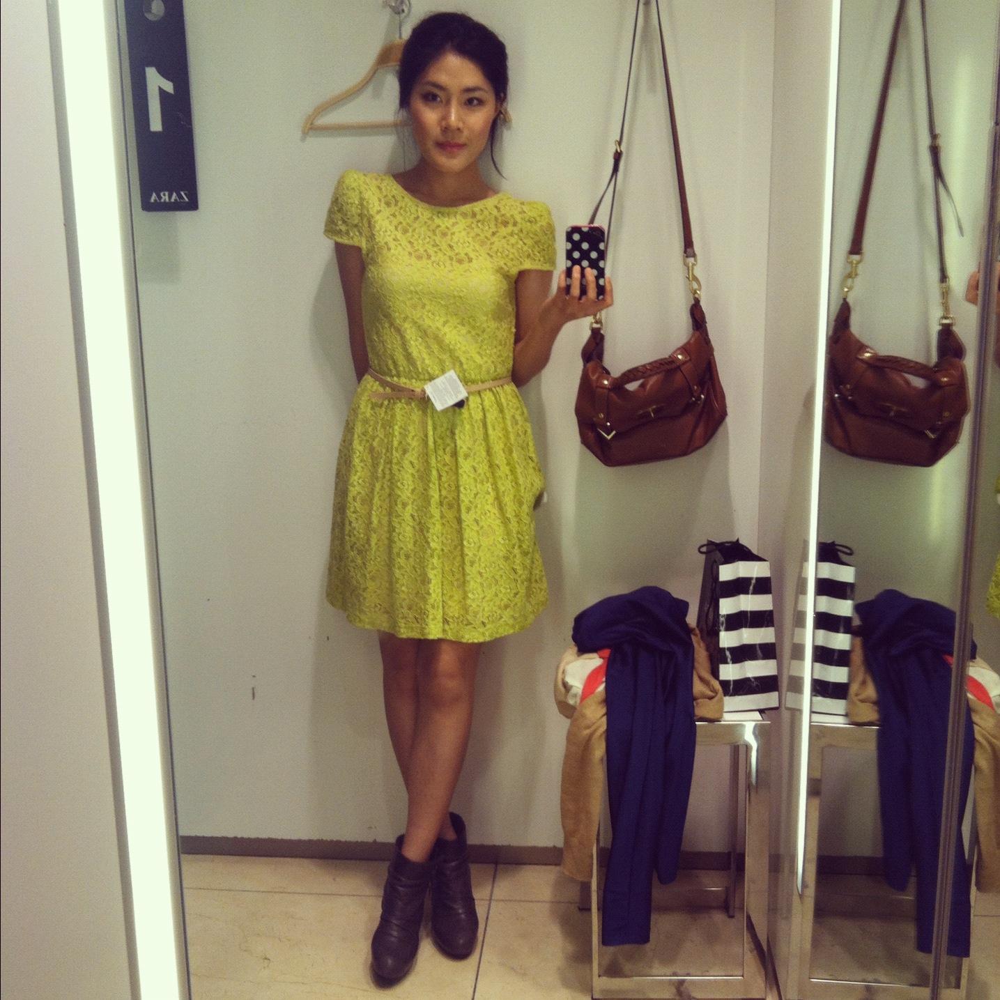 Zara Bright Neon Yellow Dress   #beautyshelfie