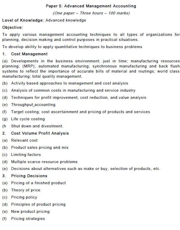 PAPER 5 CA FINAL SYLLABUS ADVANCED MANAGEMENT ACCOUTING