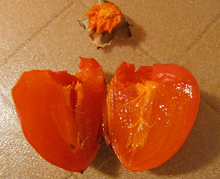 Ripe Persimmon Split in Half