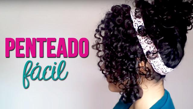 Penteado preso lateral para cabelos cacheados