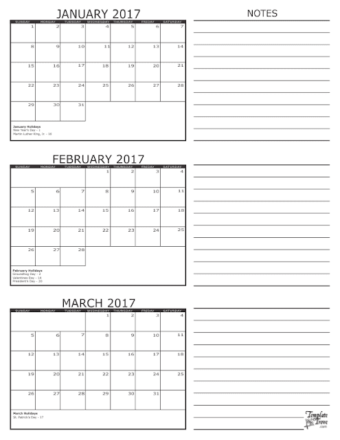 Printable Quarterly Calendar 2017 – Printable Editable Blank ...