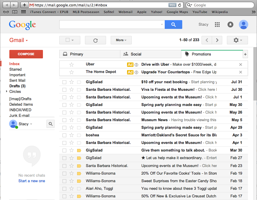 Gmail account after wedding