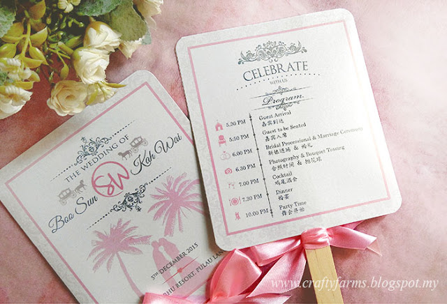 Bilingual Pink Beach Theme Wedding Ceremony Program Fan