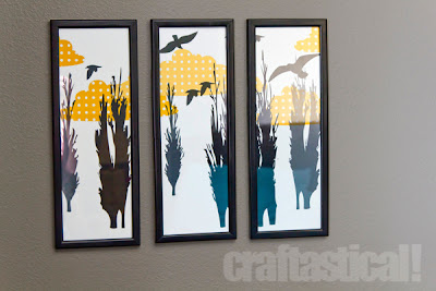 "Three skinny prints (4x15"" frames) of tree silhouettes and birds"