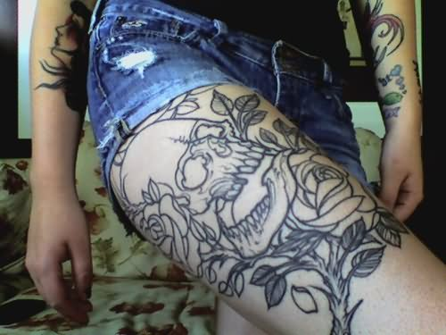 Flower thigh tattoos the arts for How much does a thigh tattoo cost