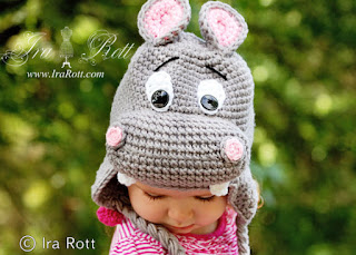 HAPPY HIPPO THE HIPPOPOTAMUS ANIMAL HAT CROCHET PATTERN