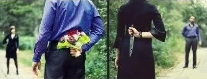 Man hides flowers, woman hides knife