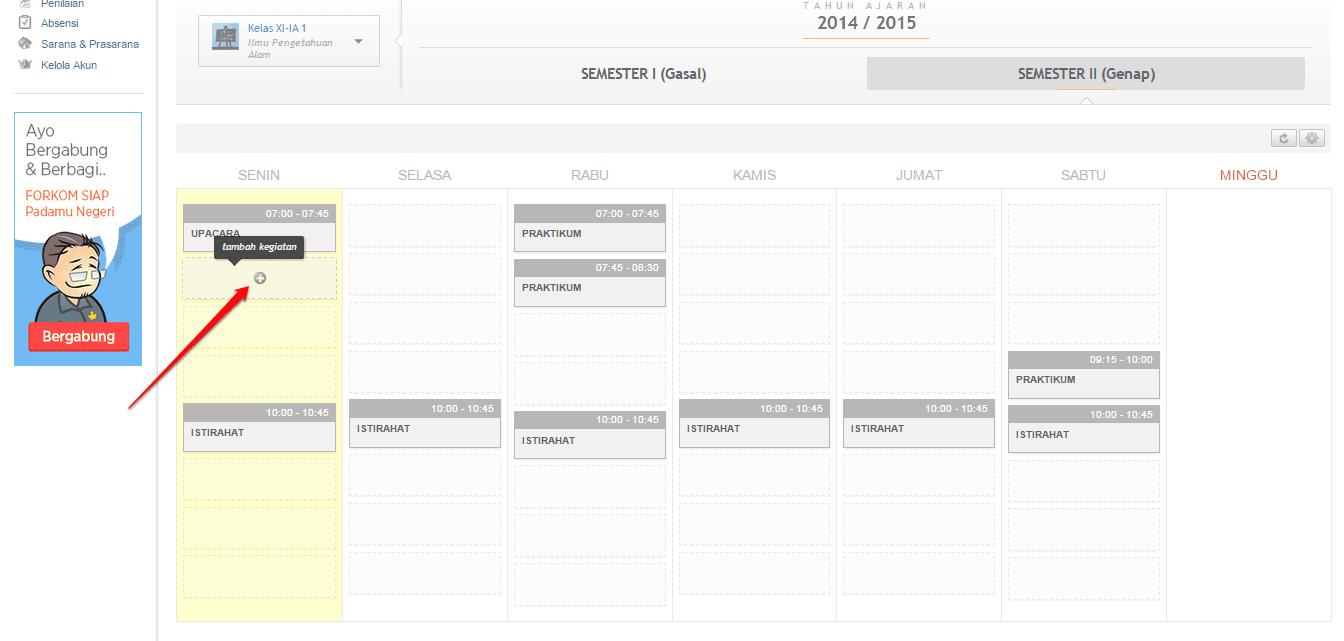 Cara Membuat Jadwal Kelas Mingguan Di Simpatika Semester 1 Tahun Pelajaran 2015 2016 Blog Om