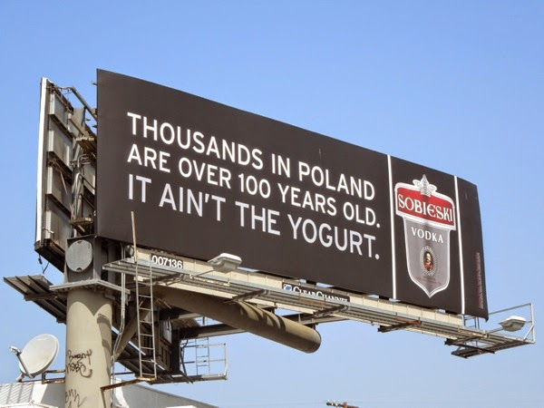 Thousands Poland over 100 ain't the yogurt Sobieski Vodka billboard
