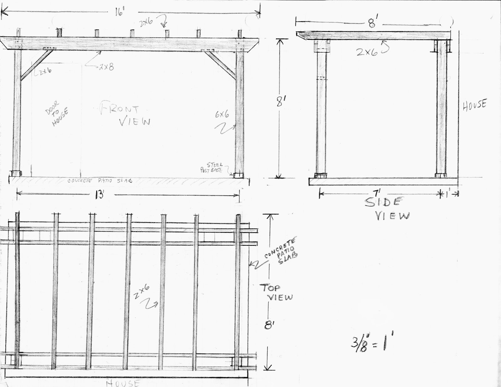 Pergola plans attached to house furnitureplans for Plans for arbors