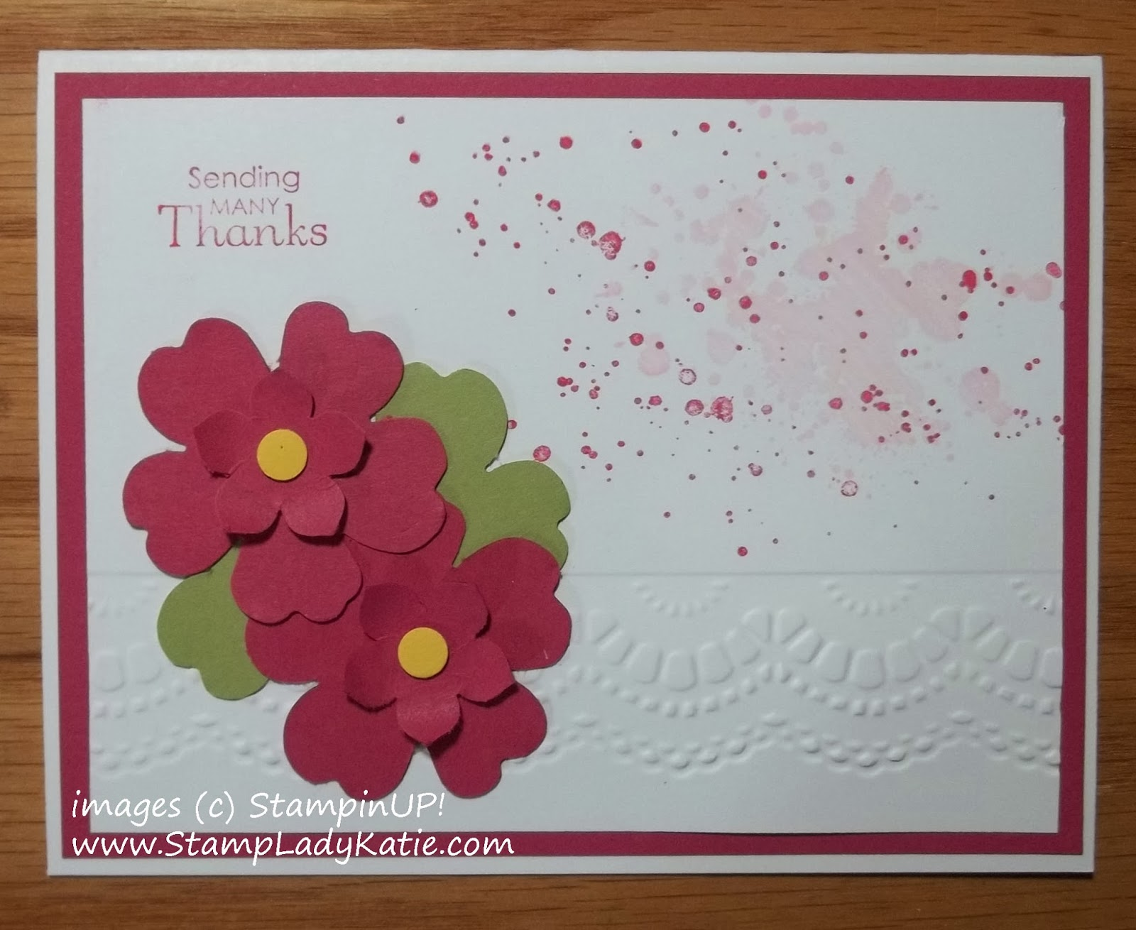 Card made with Stampin'UP! Petite Petals and Pansy Punches, Gorgeous Grunge Stamp Set and Delicate Designs Embossing Folder
