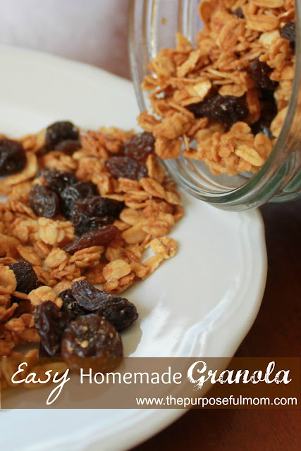 Make this easy homemade granola recipe for breakfast--kids can help too!
