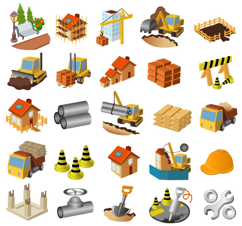 建築現場を表現したアイコン architectural theme icon イラスト素材