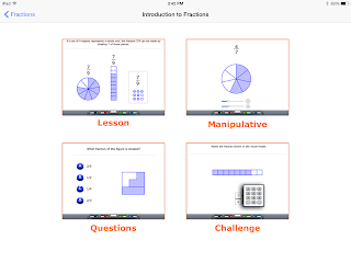 Fractions App choose exercice