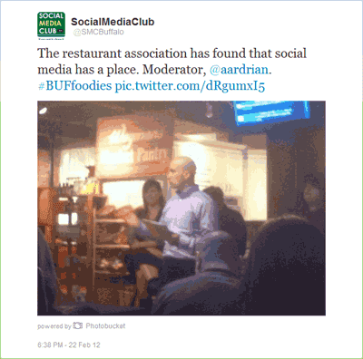 The restaurant association has found that social media has a place. Moderator, @aardrian. #BUFfoodies http://pic.twitter.com/dRgumxI5