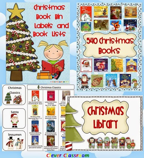 Christmas Book Bin Labels and Book Lists for Classroom Library
