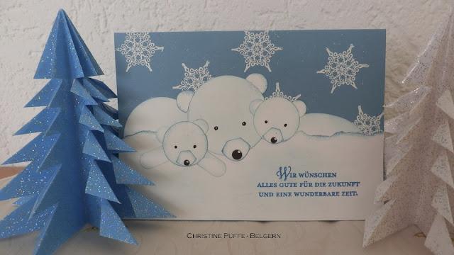 Origami, Weihnachtsbaum, Punchart, Eisbär