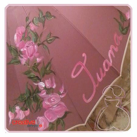 Motivo decorativo del paraguas pintado a mano por Sylvia Lopez Morant modelo Rosas.