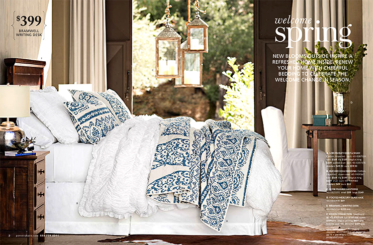 The Pottery Barn catalog is a home decor and furniture catalog filled with contemporary furniture, rugs, window treatments, bedding, bath accessories, lighting, pillows, accessories, and items for your tabletop as well as outside. The items in the Pottery Barn catalog have a slightly rustic feel to.