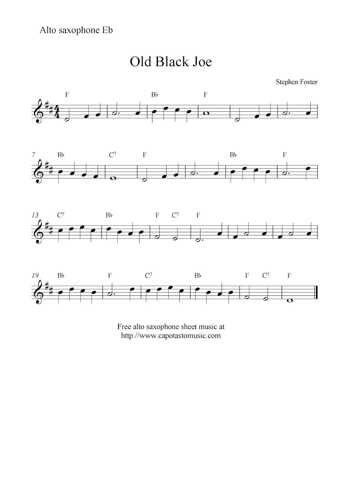 Old Black Joe, free alto saxophone sheet music notes