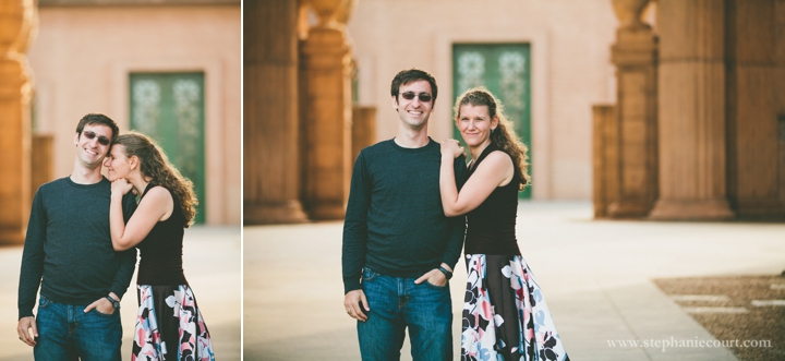 sunset engagement session at the Palace of Fine Arts in San Francisco