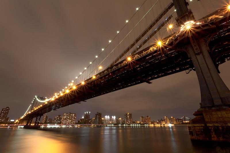 Manhattan bridge night New York