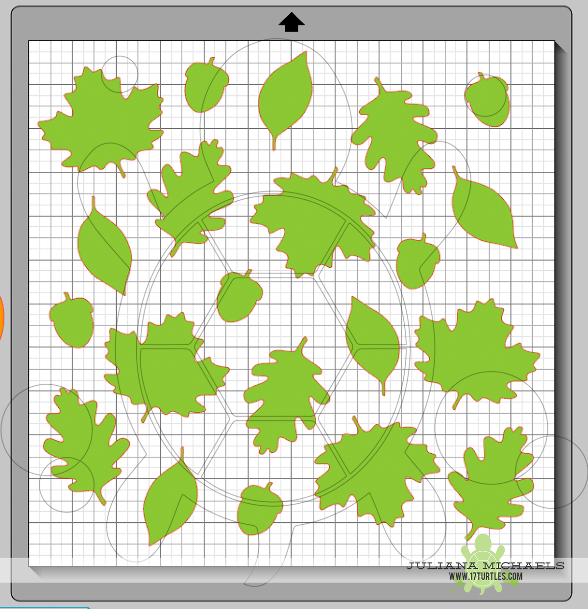 Creating a background with a Digital Cut File Leaves & Acorn by Juliana Michaels 17turtles
