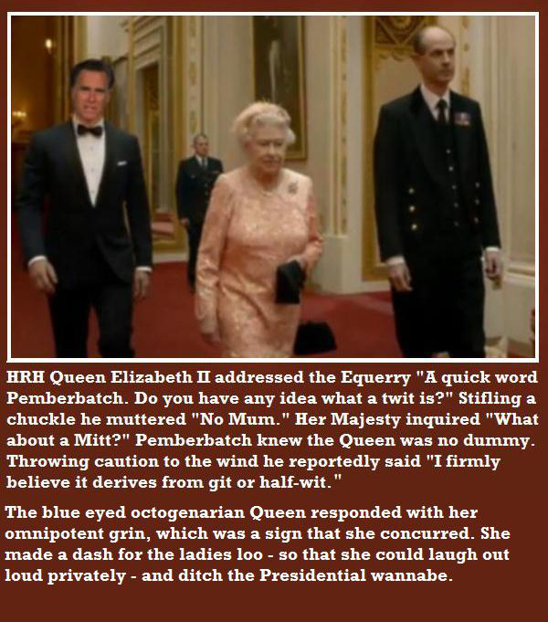 Queen Elizabeth Equerry Pemberbatch Mitt Romney at Buckingham Palace in London England