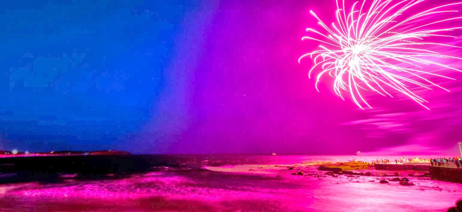 beach fireworks pink hd wallpaper banner hd wallpaper